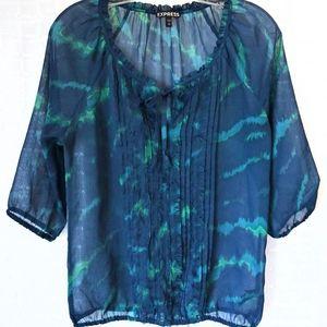 Express Sheer Top, 3/4 Sleeves, Blue-Green, Small